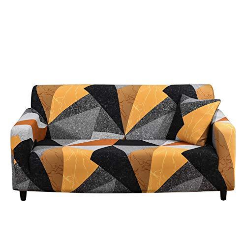 SHANNA Sofabezug Sofa Überwürfe Elastische, Stretch Sofaüberwurf 3 Sitzer Sofahusse Sofa Bezug Antirutsch für Sofa Couch, Weich Sofa Abdeckung mit 1 Stück Kissenbezug (3-Sitzer, Dreiecksblock)