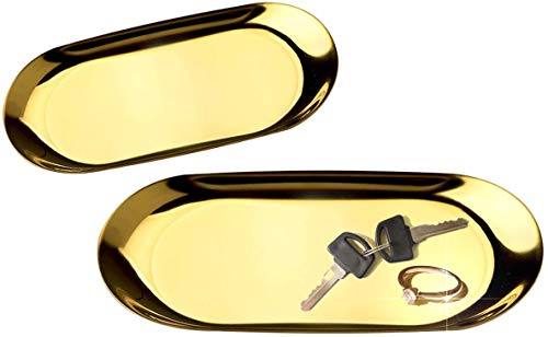 Tierneys [ティアニーズ] コイントレー 釣り銭トレー キャッシュトレイ ステンレス 鍵おき お会計皿 玄関トレー 小物置き 楕円形 大小2枚セット (ゴールド)