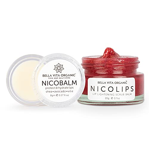 Bella Vita Organic NicoLips Lip Scrub & NicoBalm Lip Balm Combo For Dry, Chapped & Dark Lips Remover Treatment, 20g, 8 g