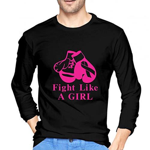 Handse Fight Like A Girl Humor Camiseta gráfica Divertida Hip Hop Hipster Pareja Manga Larga Cuello Redondo Camisetas Deportivas