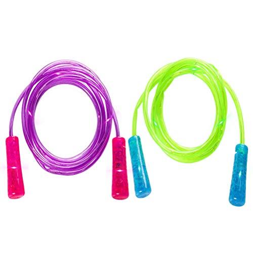 2 Stück LED Glowing Springseil, LED Springseil Jump Rope Einstellbare Länge Springseil Spaß Spielzeug Glow-in-Dark Springseil leuchtendes und blinkendes LED Seil für Kinder Erwachsene