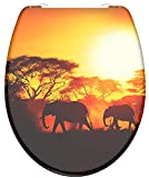 SCHÜTTE AFRICA Abattant de WC thermodurcissable avec système d'abaissement automatique et fermeture rapide pour un nettoyage facile Charge maximale des lunettes de WC 150 kg Motif 82360