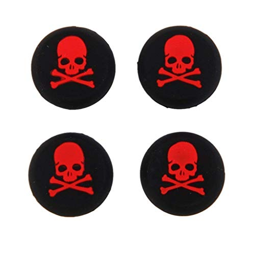 Silicone Thumb Stick Grip Cap Joystick Thumbsticks Caps Cover for PS4 PS3 Xbox One PS2 Xbox 360 Game Controllers (Red Skull 4PCS)