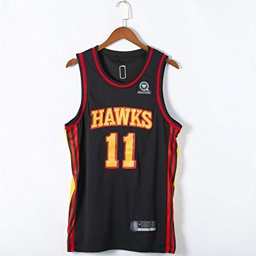 Hombre Baloncesto Jersey - NBA Atlanta Hawks # 11 Trae Joven Humedad Wicking Flood, Transpirable Ocio Basketball Jersey,Negro,M(170~175cm)