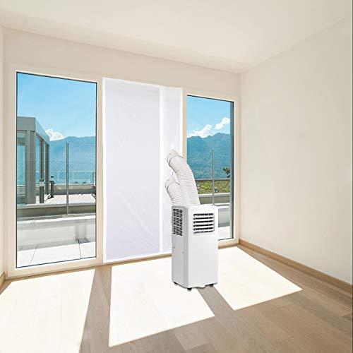 OBdeco Türdichtung Fensterdichtung für Mobile Klimageräte, zum Anbringen Wäschetrockner, Ablufttrockne,Hot Air Stop mit Reißverschluss zum Anbringen an Balkontüren(90x210cm) Weiß