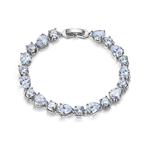 Clearine Pulsera Boda Nupcial Zirconia cúbica Piedras Preciosas Diamante lágrima Pulsera para Mujer Tono Plateado Claro