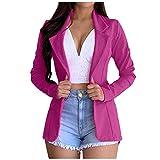 Women's Solid Blazer Open Front Blazer Jacket Work Office Long Sleeve Cardigan Casual Classic Lightweight Officewear Hot Pink
