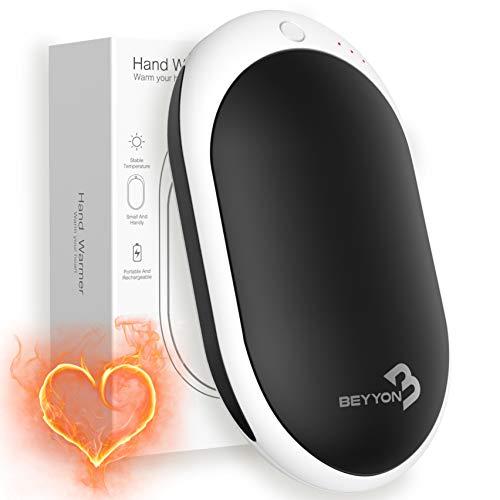 BEYYON Handwärmer Elektrisch, USB wiederaufladbarer Handwärmer 7800mAh, Tragbarer Taschenwärmer, Ideales Wintergeschenk für Frauen Kinder Mann (Schwarz)
