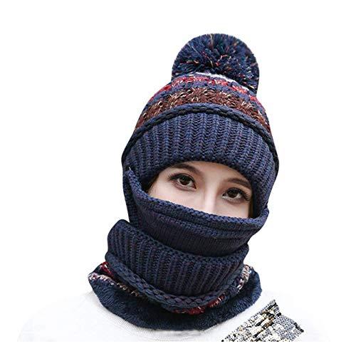 hat Sombrero Invierno de Invierno más Terciopelo Ciclismo a Prueba de Viento Sombrero de otoño e Invierno Sombrero de Lana Caliente Azul Oscuro Sombrero de Punto Salvaje (Color : Blue)