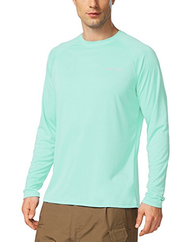BALEAF Men's UPF 50+ Sun Protection Shirt SPF Long Sleeve Running Outdoor T-Shirt Athletic Lightweight Top Light Green Size XL
