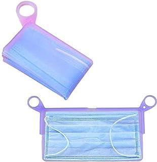 2 Pcs Face Mask Keeper Carton Foldable Mask Storage Clip Silicone Mask Storage Clip for Storing Mask((Purple and blue)