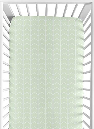 Sweet Jojo Designs Mint and White Chevron Arrow Baby or Toddler Fitted Crib Sheet for Watercolor Elephant Safari Collection