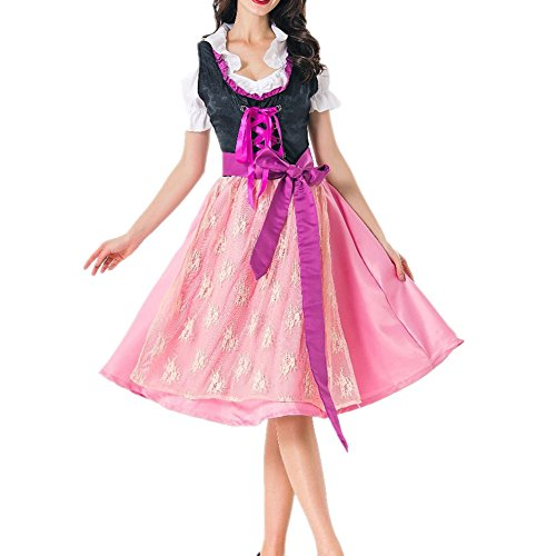 SEVEN O Womens Drindl Dress Oktoberfest Costume Bavarian Beer Halloween Cosplay (US8, A)