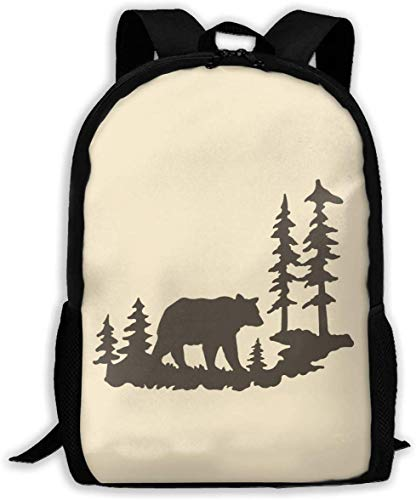 TTmom Schulrucksack,Schüler Bag,Rucksack Damen Herren Woodland Bear Forest Unisex Backpack Shoulder Bag School Backpack Travel Bags Laptop Backpack