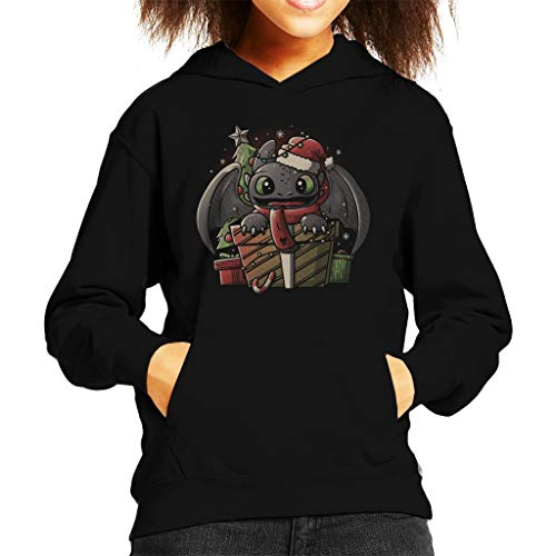 Cloud City 7 Toothless Wearing Xmas Hoed How to Train Your Dragon Kid's Hooded Sweatshirt
