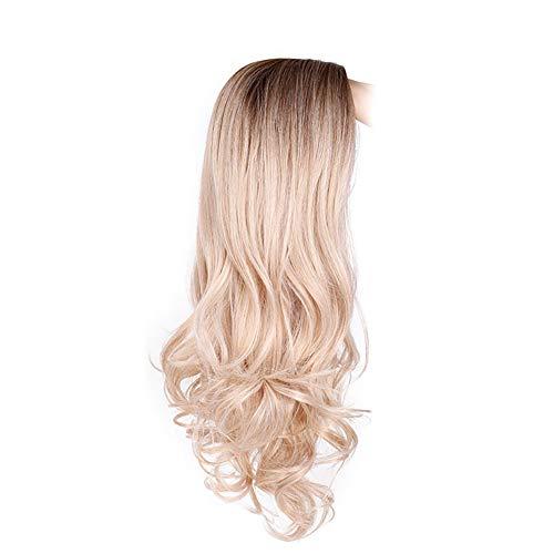Xiton 1pc Natural Blond Perruques doux Frontal cheveux bouclés haute densité résistant à la chaleur synthétique Ondulés pleine perruques pour les femm