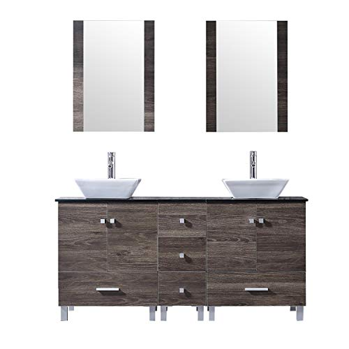 "BATHJOY 60"" Double PLY Wood Bathroom Vanity Cabinet and Square Ceramic Vessel Sink w/Mirror Faucet Combo"