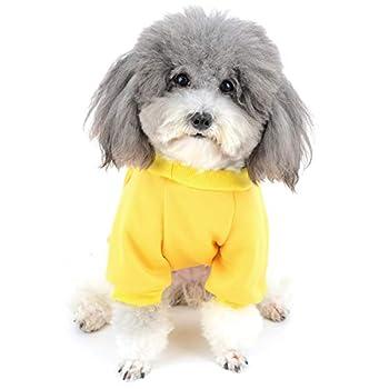Zunea Vetement pour Petit Chien Manteau Hiver Pull-Overs Sweat en Coton Rembourré Chiot Veste Costume pour Chien Chat Yorkshire Chihuahua Jaune M