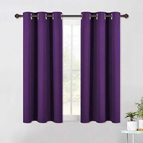 NICETOWN Blackout Curtain Panels for Kids Room, Triple Weave Home Decoration Thermal Insulated Solid Ring Top Blackout Curtains/Drapes (Set of 2, 42 x 54 Inch, Royal Purple)
