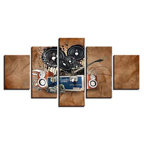 Murturall 5 stuks afdrukken op canvas muziek akoestiek schilderij muurkunst modulaire abstracte canvasafbeeldingen frameposter 100x55cm