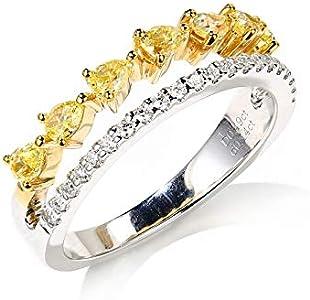 AnazoZ 18K Oro + 18K Oro Blanco Anillo Mujer Oro y Oro Blanco Anillos para Mujer Triángulo Gota de Agua Diamante Amarillo Blanco 0.42ct Talla 12