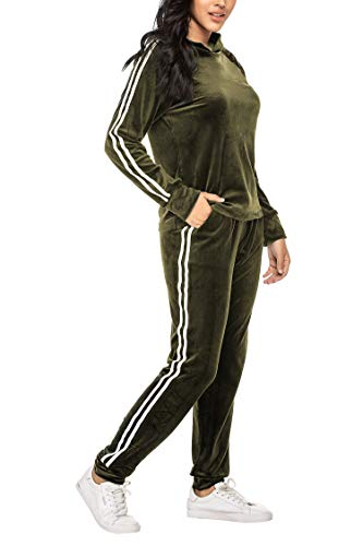 Unibelle dames trainingspak joggingpak velours capuchonpullover en broek sportkleding met ritssluiting trekkoord zakken hoodie sweatset