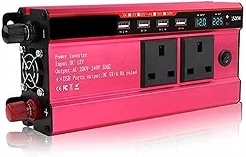 LLSS Inverter di Potenza 1500 W DC Convertitore per Auto da 12V a 220V AC-Inverter per Auto con Quattro Porte USB Potenza di Picco 1500 W, con 2 Prese UK Inverter 12V con disp