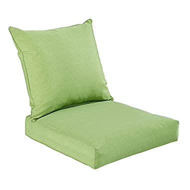 Bossima Indoor/Outdoor Green/Grey Piebald Deep Seat Chair Cushion Set.Spring/Summer Seasonal Replacement Cushions.