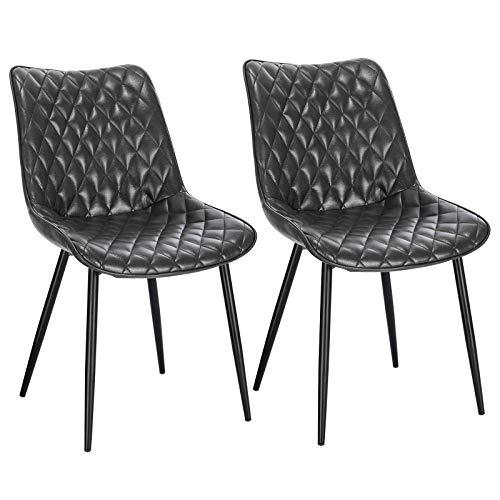 EUGAD 0675BY-2 2 Stücke Esszimmerstühle, Retro Küchenstuhl Wohnzimmerstuhl Sitzfläche aus Kunstleder Retrostuhl mit Metallbeine Besucherstuhl Stuhl für Esszimmer Wohnzimmer Küche, Grau