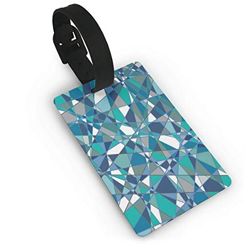 Abstract Blue Teal Geometric Grey Customised PU Leather Suitcase Labels Bag Travel Accessories