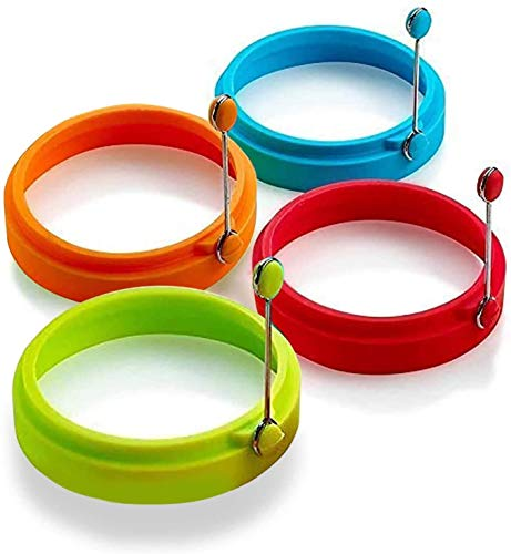 Epoch-Making 4 PCS Silicone Cooking Non Stick Perfect Fried Egg Mold or Pancake Rings