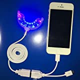 Teeth Whitening Light. 16 LED Teeth Whitener 3 Adapters for iPhone, Android & USB, 15mins auto power off. Works w/Teeth Whitening Strips or any Teeth Whitening Gel.