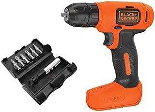 Black & Decker 7.2V Lithium-Ion Compact Cordless Drill with 7 Pieces Screwdriver Bit Set, Orange/Black - BDCD8-B5+X60480-XJ