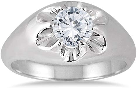 AGS Certified 1 Carat Men s Diamond Solitaire Ring in 10K White Gold J K Color I2 I3 Clarity product image