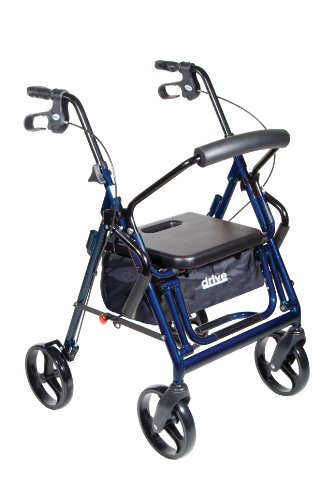 Drive Medical Duet Transport Wheelchair Rollator Walker, Blue