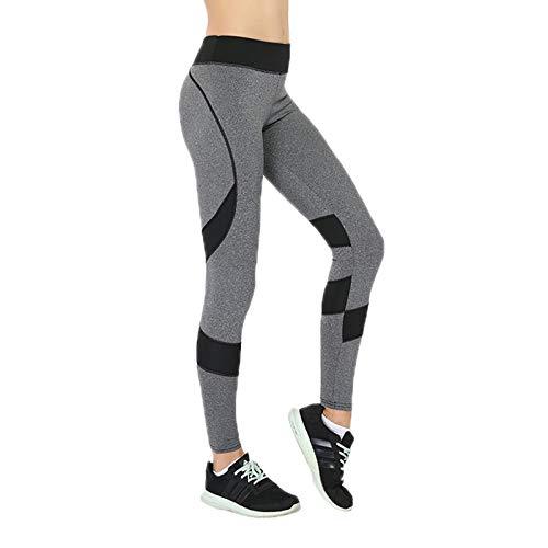 Elonglin Femme Leggings de Sport à Rayure Pantalon de Course Yoga Fitness Minceur Taille Haute Elastique Séchage Rapide Noir FR 38-42 (Asie L)