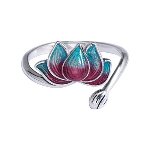 Xuebai Vintage Fleur de Lotus émail Anneaux Porte-Bonheur Poisson breloque Anneau Ouvert Bande réglable WOM Anneau A #