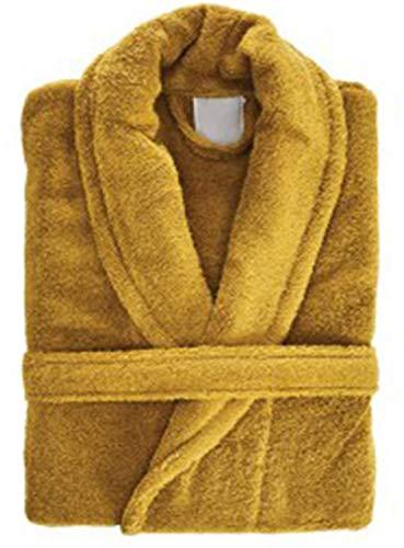 Porter and Lambert - Albornoz para hombre y mujer, 100% algodón egipcio, con capucha, cuello de chal, albornoz, ropa de dormir, perfecto para gimnasio, ducha y spa Mostaza (cuello de chalo). L/XL