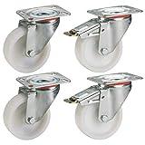 Dörner + Helmer 450151 - Juego de 4 ruedas giratorias de poliamida, resistentes a la rotura, a la corrosión, diámetro de 100 mm, 150 kg, color blanco natural