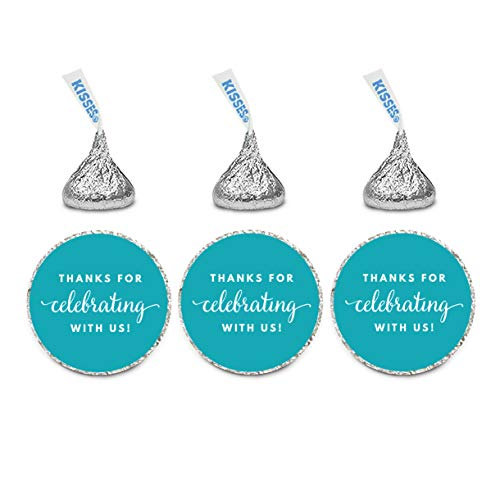 Andaz Press Chocolate Drop Labels Trio Fits Kisses Party Favors Thanks for Celebrating with Us Aqua 216Pack