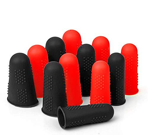 Hydream 12pcs Protector de Dedos de Silicona Tapas de Dedos, Protección de Dedo para Pistola de Pegamento Caliente, Costura, Adhesivos, Cera, Resina, Scrapbooking, 3 Tamaños (Negro Rojo)