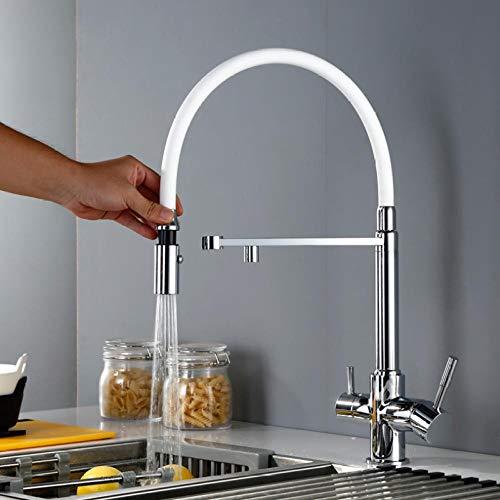 Grifo de cocina de agua limpia de 3 vías con rociador Grifo mezclador de fregadero de cocina abatible con ósmosis giratoria de triple flujo inverso