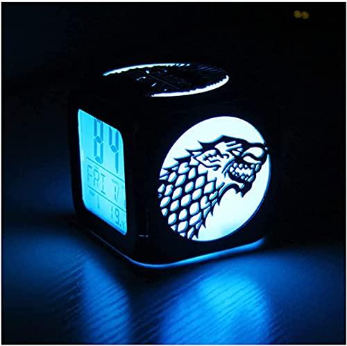 HAOHAO Juego De Tronos Logotipo De Cabeza De Dragón Y Tigre De Tres Cabezas Moda Creativo 3D Estéreo Pequeño Despertador Mute LED Luz Nocturna Reloj Electrónico-Carga USB