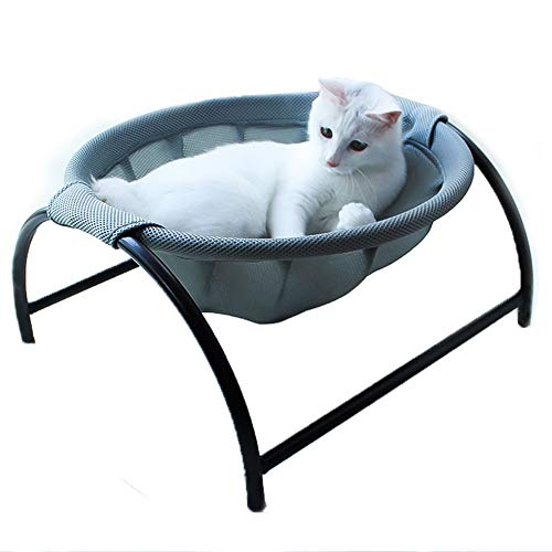 Summer Mesh Cat Hammock Bed Breathable for Kittens Kitties Pups Small Pets,Detachable Cover,Stable Iron Frames, Easy to Clean Machine Washable, Keep Pets Away from Moisture & Skin Diseases