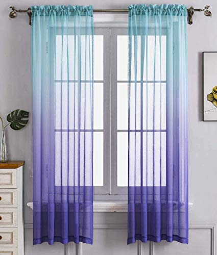 Blue Purple Ombre Sheer Curtains for Kids playroom 2 Panels Rod Pocket Bedroom Window Semi Voile Drapes Faux Linen Décor Girls Livingroom Room Decoration Party (Blue and Purple, 54 x 63 Inch)