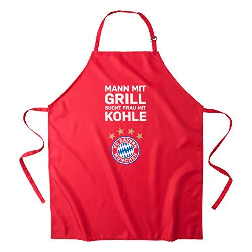 FC Bayern München Grillschürze, Kochschürze, Schürze Mann mit Grill sucht Frau mit Kohle FCB - Plus gratis Aufkleber Forever München