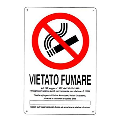 Cartello Segnaletico per Aziende (Cartello Vietato fumare 20x30 cm PVC)
