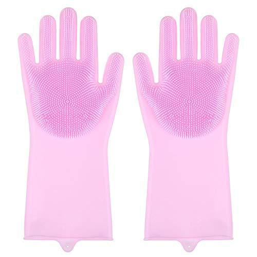 1 par de Guantes de Silicona para Limpieza de Cocina, Guantes para Lavar Platos, depurador mágico, Guantes de Goma para Lavar Platos, Herramientas, Utensilios de Cocina, Nuevo-Pink A