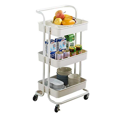 GFL Carro de Almacenamiento de Cocina, 3 Capas Carro de Servicio con 2 Frenos, para Cocina, Baño, Oficina (Color : White)
