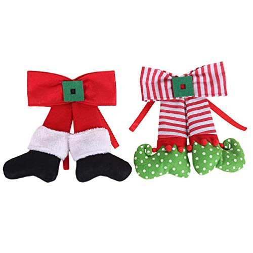 NUOBESTY 2pcs Christmas Bow Ornaments with Santa Claus Elf Design Christmas Tree Door Fireplace Hanging Decorations Xmas Holiday Party Supplies
